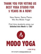 THANK YOU FOR VOTING Modo Yoga BEST YOGA STUDIO FOR 5 YEARS IN A ROW!