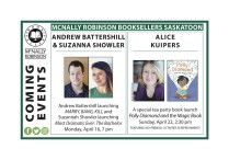MCNALLY ROBINSON BOOKSELLERS SASKATOON COMING EVENTS