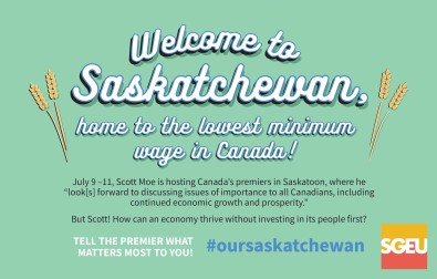 Welcome to Saskatchewan, home to the lowest minimum wage in Canada!