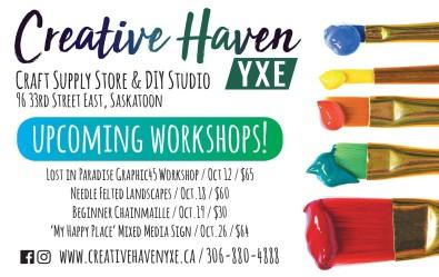 Creative Haven YXE Upcoming Workshops!