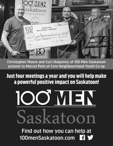 100 Men Saskatoon present to Marcel Petit of Core Neighbourhood Youth Co-op