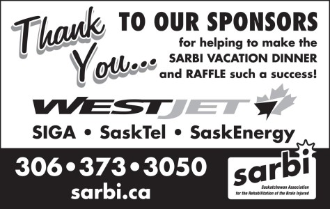 Thank You For Helping To Make The Sarbi Vacation Dinner And Raffle Such A Success!