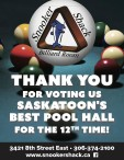 SASKATOON'S BEST POOL HALL FOR THE 12TH TIME!